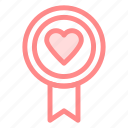badge, heart, love, romance icon