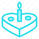 cake, candle, cookie, heart, love icon