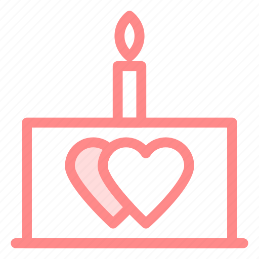 cake, candle, love, wedding icon