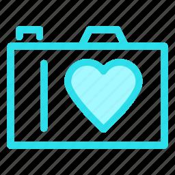 camera, heart, love, photograph icon