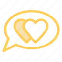 bubble, chat, hearts, love icon