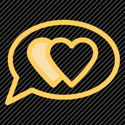 bubble, chat, hearts, love icon