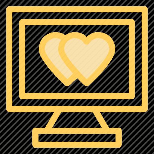 hearts, love, monitor, romance icon