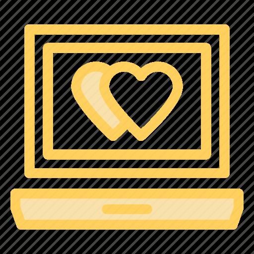 laptop, love, online, romance icon