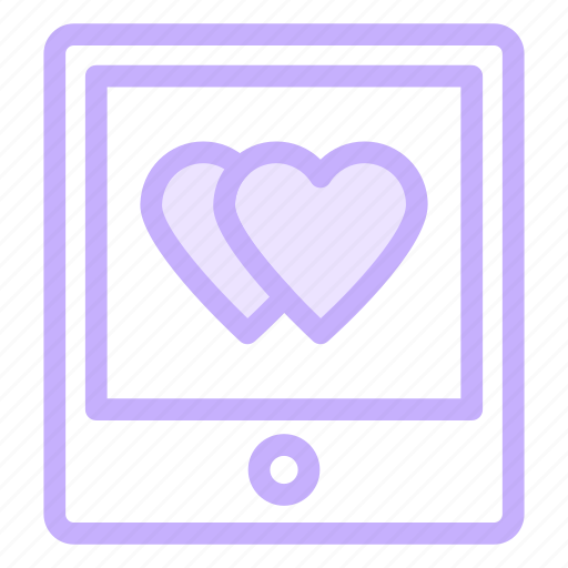 love, mobile, romance, tablet icon