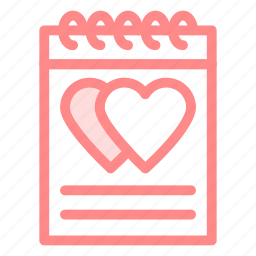 letter, love, note, pad icon