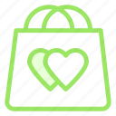 bag, hearts, love, shopping icon