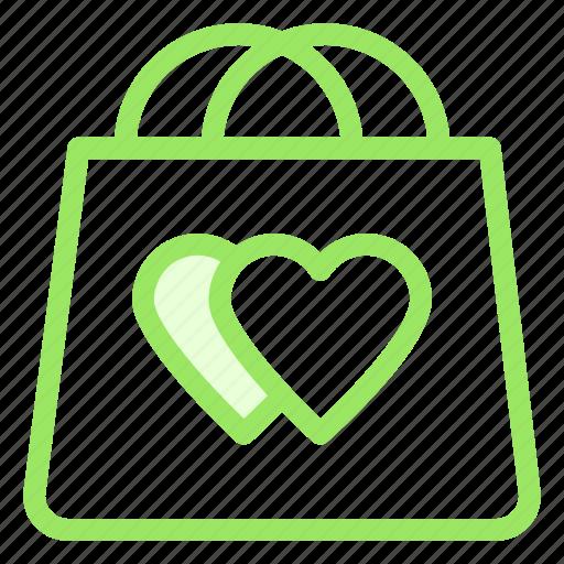bag, hearts, love, shopping icon