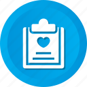 clipboard, data, document, file, love, paper icon