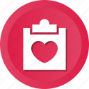 clipboard, data, document, file, love, paper icon