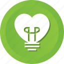 bulb, heart, lamp, light, lightbulb icon