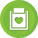 business, clipboard, data, document, file, love, paper icon