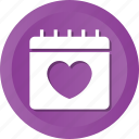 calendar, date, dating, heart, love, relationship, valentine icon
