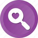 find, heart, love, loving, magnifier, marriage, search icon
