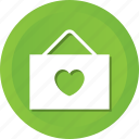 board, greeting, hanging, heart, love, romance icon