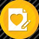 heart, letter, love, valentine, wedding, write icon