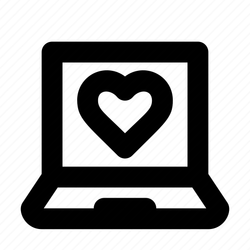 heart, laptop, love, romance, valentine icon