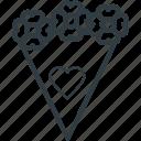 bouquet, bouquet flowers, flower arrangement, flowers, heart sign icon