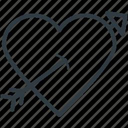 arrow, heart, love archery, love target, romantic icon