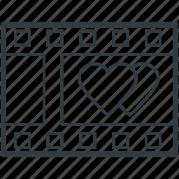 film reel, film strip, hearts sign, romantic film, romantic movie icon