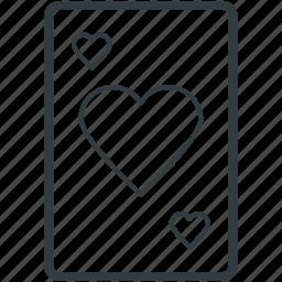 blackjack card, casino, game, heart, poker card icon