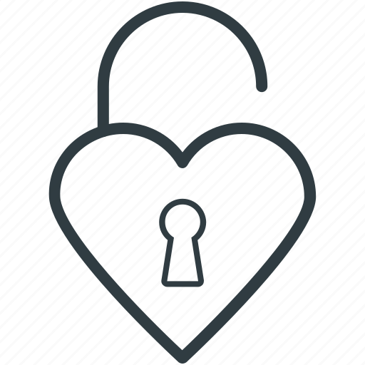 heart shaped, love secret, padlock, privacy, secret feelings icon