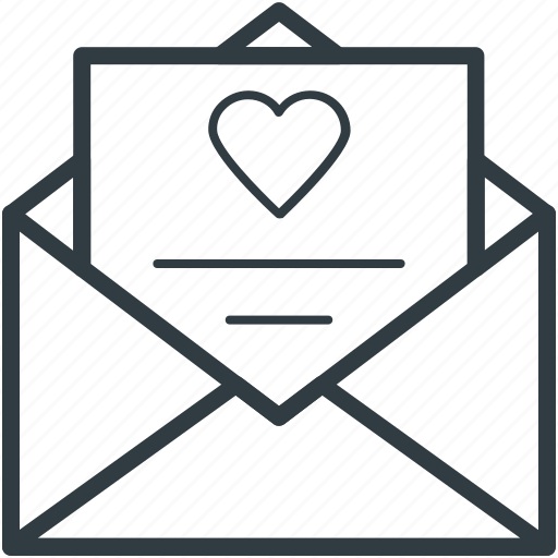 correspondence, heart sign, love, love communication, love letter, romantic feelings icon