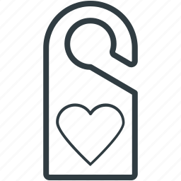 do not disturb, door tag, doorknob, heart sign, privacy symbol icon