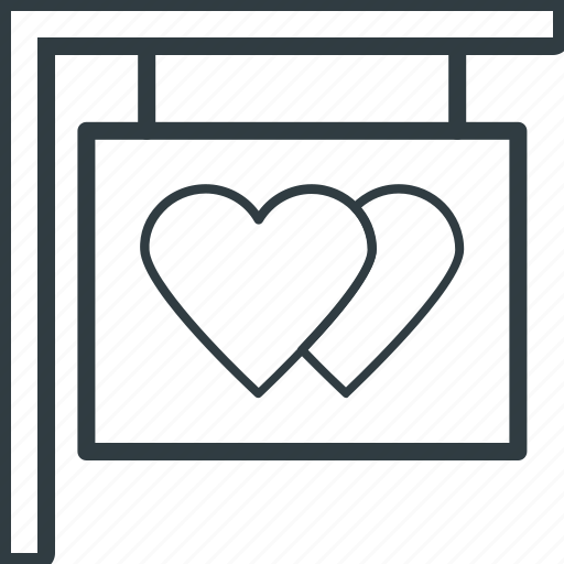 heart signs, info, information, message, signboard icon
