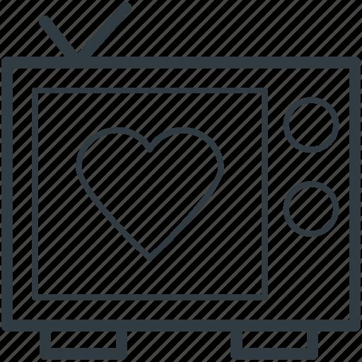 broadcasting, media, retro television, retro tv, screen heart icon