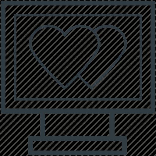 hearts sign, love via internet, media, monitor, valentines day icon