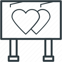 advertising, billboard, marketing, signboard, two hearts icon