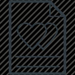 correspondence, heart sign, love, love letter, romantic feelings icon