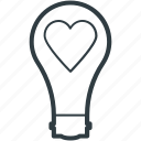bulb, electricity, heart in bulb, lightbulb, romantic theme icon
