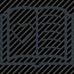 love, love notebook, memo, passion, romantic feelings icon