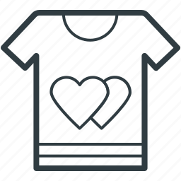 hearts sign, love, romantic, tee shirt, valentine day icon