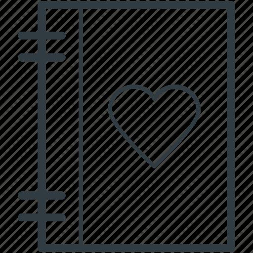 diary, heart sign, love, love inspirations, memo, memories, romantic feelings icon