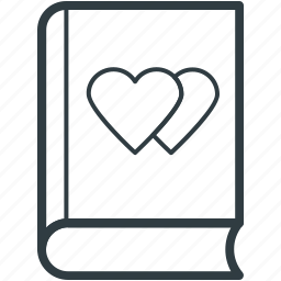 diary, hearts sign, memo, romantic feelings, thoughts icon