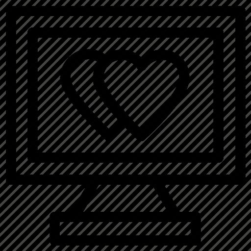 hearts sign, love via internet, media, monitor icon