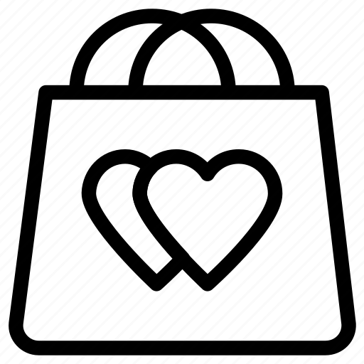 gift offer, heart sign, shopping bag, special gift icon