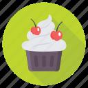 cherry cupcake, cupcake, dessert, fairy cake, muffin icon