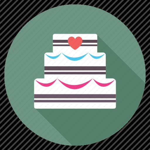 Anniversary cake, cake, dessert, valentine cake, wedding cake icon - Download on Iconfinder