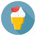 heart on ice cone, ice cone, ice cream, romantic, snow cone icon