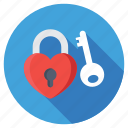 heart key, heart padlock, love privacy, love secret, lover secret icon
