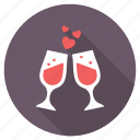 beverage, cheers, love theme, loving toasting, toasting glasses icon