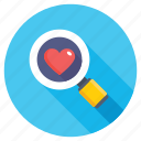 exploring love, find partner, heart search, looking for love, searching love icon
