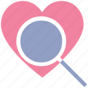find, heart, love, magnifier, search, searching love, valentines