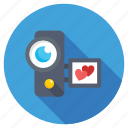 camcorder, camera love, heart handycam, video camera, video shooting icon