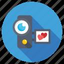 camcorder, camera love, heart handycam, video camera, video shooting icon