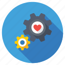 heart gear, heart setting, heart with cog, heart with cogwheel, romance concept icon